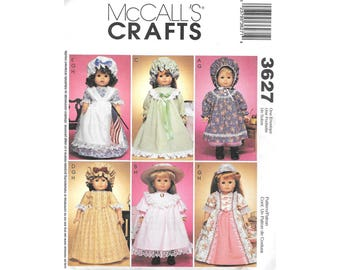 "Historical Clothing 18"" Doll Clothes American Girl Sewing Pattern Dress Nightgown Apron Pantaloons McCalls 3627"