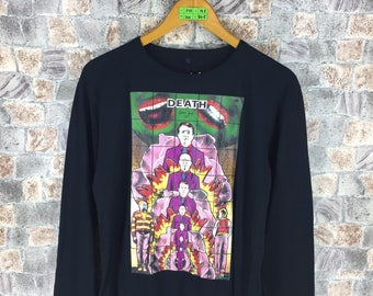 AGNES B T shirt Medium Vintage Agnes B Paris Gilbert George Artwork Designer Death Pop Art Tee Longsleeve Black T shirt Size M