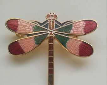 beautiful vintage 1980s cloisonne dragonfly pin brooch botanical insect