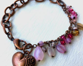 Rustic Pink Charm and Chain Bracelet//Chains and Glass//Delicate