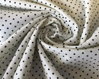 Black And White Polka Dot Cord Fabric - 60 Inches Wide