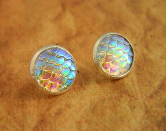 White Mermaid Earrings, Dragon Earrings, Mermaid Scales, Dragon Scales, Stud Earrings, Mermaid Jewellery, White Earrings, Mermaid Tail