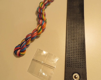 Kit for bracelet, embroidery FLOSS, black leatherette included threads, needles, bracelet and explanations