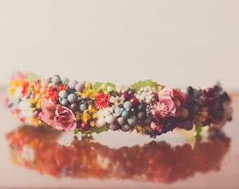 Floral Crown - Flower Halo in Colorful Flowers - Flowergirl hairpiece - Newborn Photo Prop - Wedding Crown - Floral Hairpiece