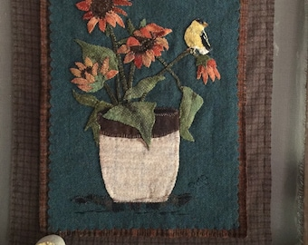 """NEW wool applique pattern """"Fall flowers and finch"""" is the third of my four season set."""
