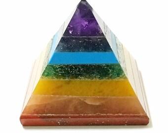 7 Chakra Pyramid - 25-30mm Mini Pyramid! Chakra, Reiki
