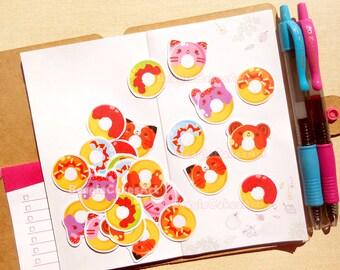Donut Stickers. Kawaii Stickers. Animal Stickers. Party Favors. Planner Stickers. Erin Condren. Kikki K. Filofax. Snail Mail. Scrapbooking.