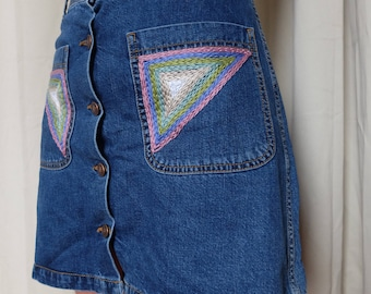 Upcycled Hand Embroidered Button Up Denim Skirt Size Small
