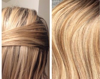 """5 Star European Remy Double Drawn Highlighted Balayage Tape-in Seamless weft 20"""" Hair Extensions 40pcs"""