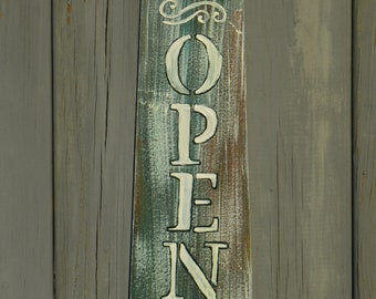 Hand Painted , Homemade, Open/Closed, Door Sign,Re-purposed Fan Blade