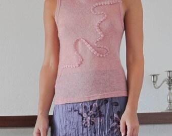 Pink rose vintage knit sheer embellished top.size XL