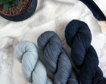 Hand dyed sock yarn, gradient yarn set, hand dyed yarn, Sockenwolle, handgefärbte Wolle, handdyed yarn, Featherfin PREORDER - Metal