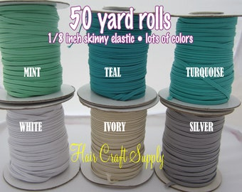 IVORY - Skinny Elastic 50 yard roll for baby and adult headbands thin one eighth inch width rolled on tiny rolls for storage