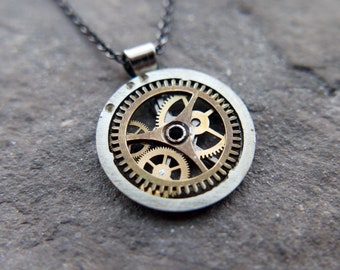 "Watch Gear Necklace ""Dalim"" Pendant Recycled Mechanical Watch Parts Intricate Sculpture Wearable Art Steampunk Assembly Gershenson"