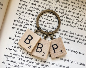 Scrabble Letter Key Chain, You Choose The Letters, Initial Key Ring, Personalized Keychain, Custom Scrabble Keyring