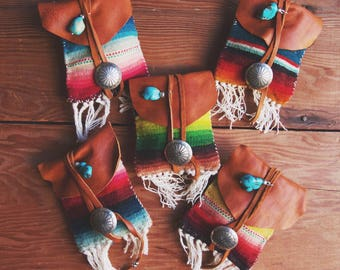 MPN-02, Handmade repurposed vintage handwoven Saltillo and leather medicine pouch necklace