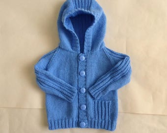 Blue knit hooded sweater, hoodie for baby boy 6 to 12 months, hand knitted baby jacket with hood, boy's knit hoodie, blue hooded sweater