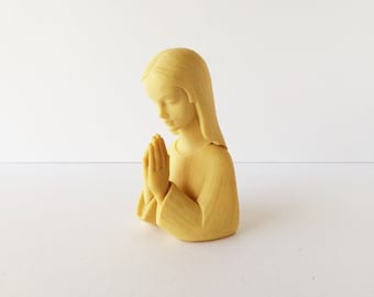 Praying Virgin Mary Figurine, Vintage Mother Mary Madonna Statuette, Catholic Icon Art Home Altar