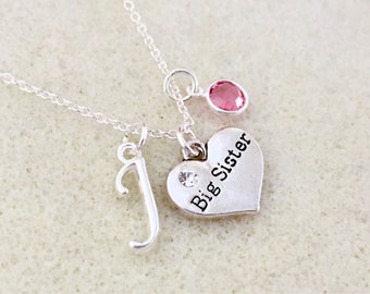 Personalized big sister necklace big sister gift for big sister birthday gift new big sister gift from baby announcement gift for sister