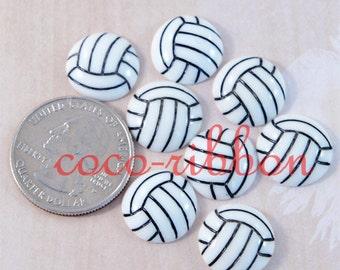 15mm 12 pcs Volleyball Sport Ball Cheer Flatback Resin Cabochons (C30)