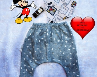 Baby boy pants, Baby boys harem pants, boys pants, Vintage Mickey print, baby pants size 3 months, size 6 months,Boys pants size 1 AND 2