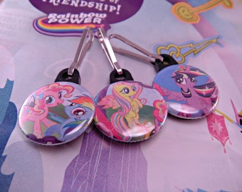 My Little Pony One Inch Zipper Pulls Set of Three Fluttershy Rainbow Dash Pinkie Pie