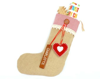 Personalized Shabby Chic Christmas Stocking in Red Gingham with pure wool felt heart decoration and wooden name tag