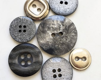 nos and vintage recycled glittery silver gray and black marbled and metal buttons--mixed lot of 7