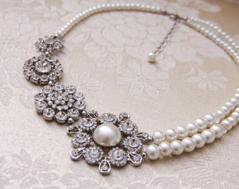 Bridal Necklace Crystal Pearl Wedding Necklace Statement Necklace Pearl Necklace Wedding Jewelry Pearl Bridal Necklace