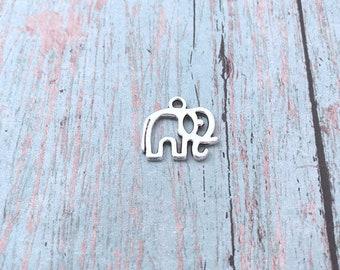8 Small Elephant charms (2 sided) silver tone - silver elephant pendants, zoo animal charms, Alabama charms, pachyderm charms, T5