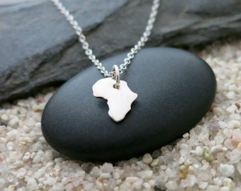 Africa Necklace, Sterling Silver Africa Charm, Travel Jewelry