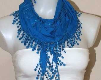 Lace scarf Blue lace scarf Summer accessories Soft Lace scarf Women accessories Spring accessories Fashion accessories Blue scarf