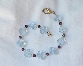 Blue and purple dice bracelet