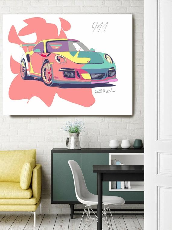 """Pink Porsche, Porsche art print Large Pink Green Porsche Painting Canvas Art Print, Kids Wall Decor, Car Wall Decor up to 72"""" by Zeev Orlov"""