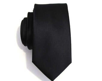 Mens Tie Black Skinny Silk Necktie With *FREE* Matching Pocket Square Set