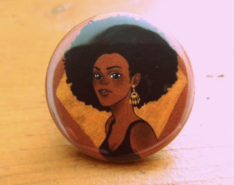 Afro badge & Gold 32 mm - design printed on card