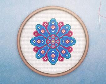 Mandala Cross Stitch • Modern Geometric Cross Stitch Pattern • Modern Hoop Art • Counted Cross Stitch PDF • Mystic Floral XStitch Pattern