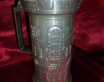 PEWTER Norman Castle TANKARD / Jug / Stein / Pourer - Crown & Rose stamp on base and initials N D - French? LARP