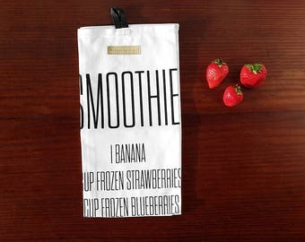 Smoothie Kitchen Towel, Large Hand Towel with Recipe, Healthy Fruit Smoothie; Modern Farmhouse Kitchen Decor