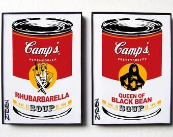 Barbarella, Jane Fonda and Anita Pallenberg original Pop Art Soup, framed set by Zteven