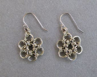Sterling Silver Rosette Chainmaille Dangle Earrings