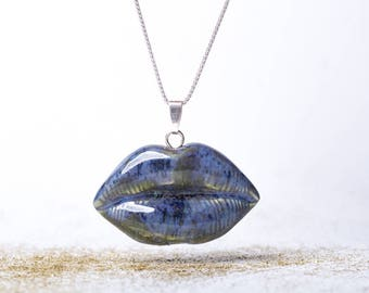 lip necklace | lips pendant | | love necklace | kiss necklace | girly gift | pinup necklace | ceramic charm | ceramic necklace | silver