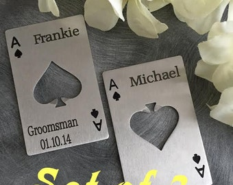 SET OF 3 Bottle openers/ credit card size bottle opener/Ace of Spade personalized opener