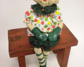 Primitive Elf Doll, Christmas Decor, Folk Art Dolls