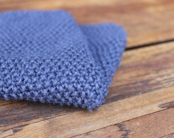 Dish cloth hand knitted 100% cotton - Blue