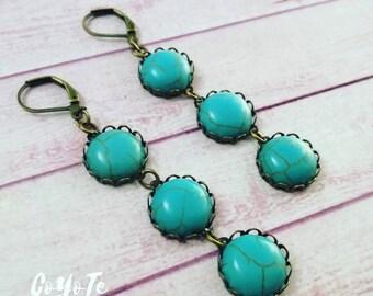 Boho Turquoise Earrings, cameo pendant earrings, glass cabochon, boho style