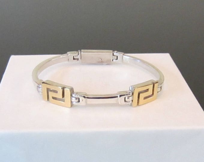 Modern Sterling Silver & 18K Yellow Gold Geometric Accented Bracelet