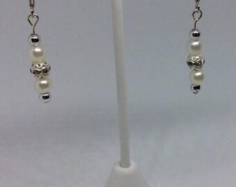Silver, Rhinestones, and Pearl Dangle Earrings
