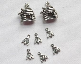 8 Bee Charms - 2 beehives and 6 bees for your charm bracelet