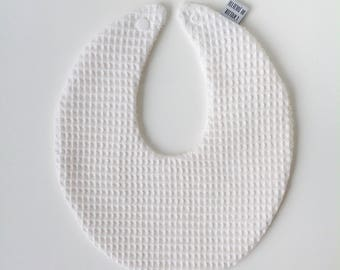 Little waffle cotton bib with press button